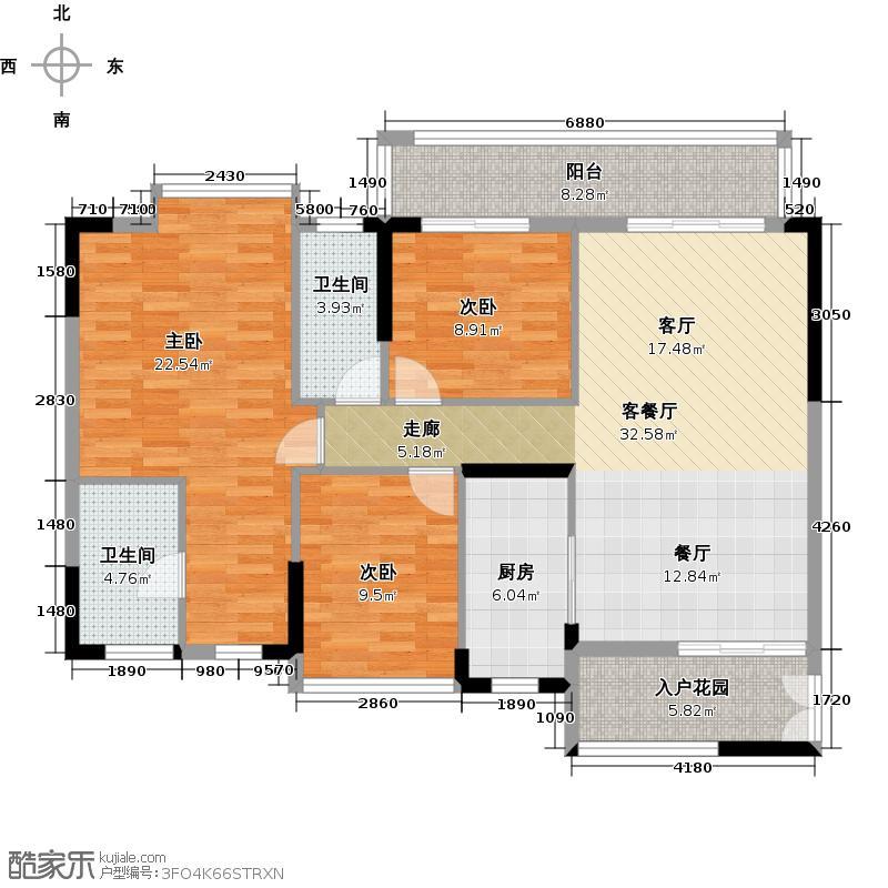 奥园春晓123.00㎡两梯四户户型3室1厅2卫1厨