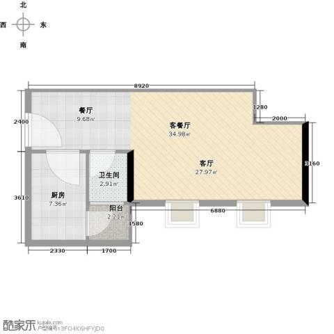 丰泽大厦-枫丹雅筑1厅1卫1厨53.00㎡户型图