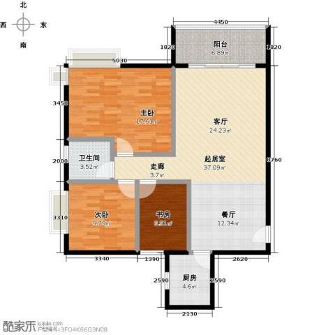 星云轩3室0厅1卫1厨97.00㎡户型图