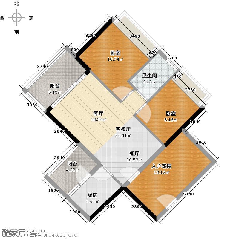 可逸家园86.35㎡4栋5、21层04单位户型1厅1卫1厨