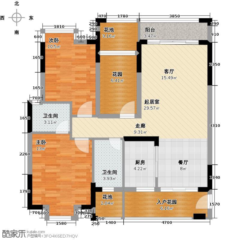 龙湾新城97.42㎡F10-01户型2室2卫1厨