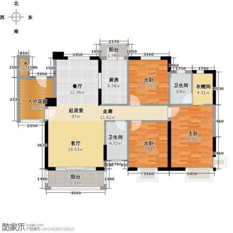石竹山水园4期3室0厅2卫1厨151.00㎡户型图