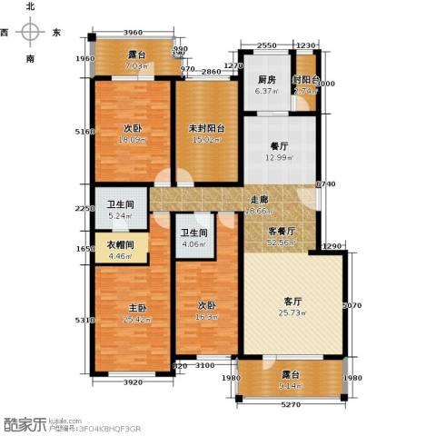 富力丹麦小镇3室1厅2卫1厨182.00㎡户型图