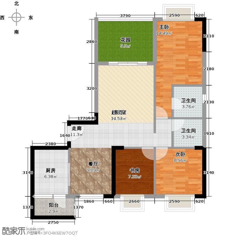 优山美墅104.64㎡E3幢2-18层01户型3室2卫1厨