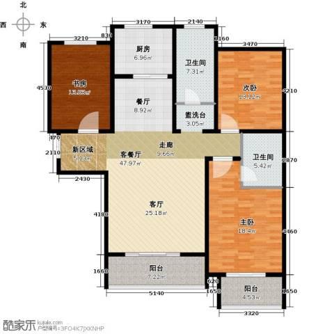 玫瑰湾3室1厅2卫1厨138.00㎡户型图