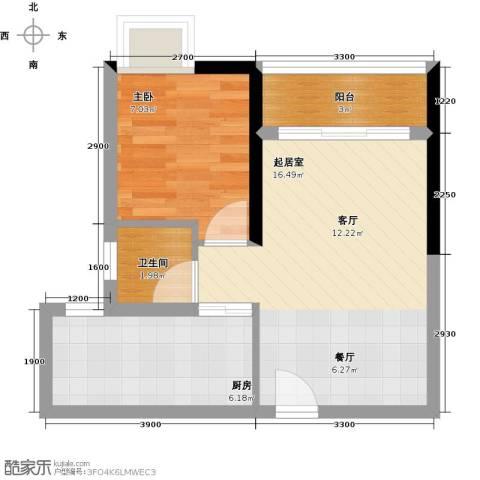 珠光高派国际公寓1室0厅1卫1厨52.00㎡户型图
