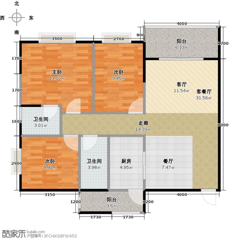 金泽豪庭100.00㎡8栋/9栋0102与01呈镜像对称户型3室1厅2卫1厨