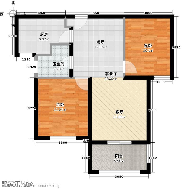 良渚文化村探梅里二期80.00㎡B2户型2室2厅1卫