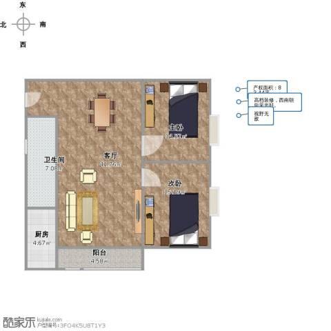复兴世纪2室1厅1卫1厨89.00㎡户型图
