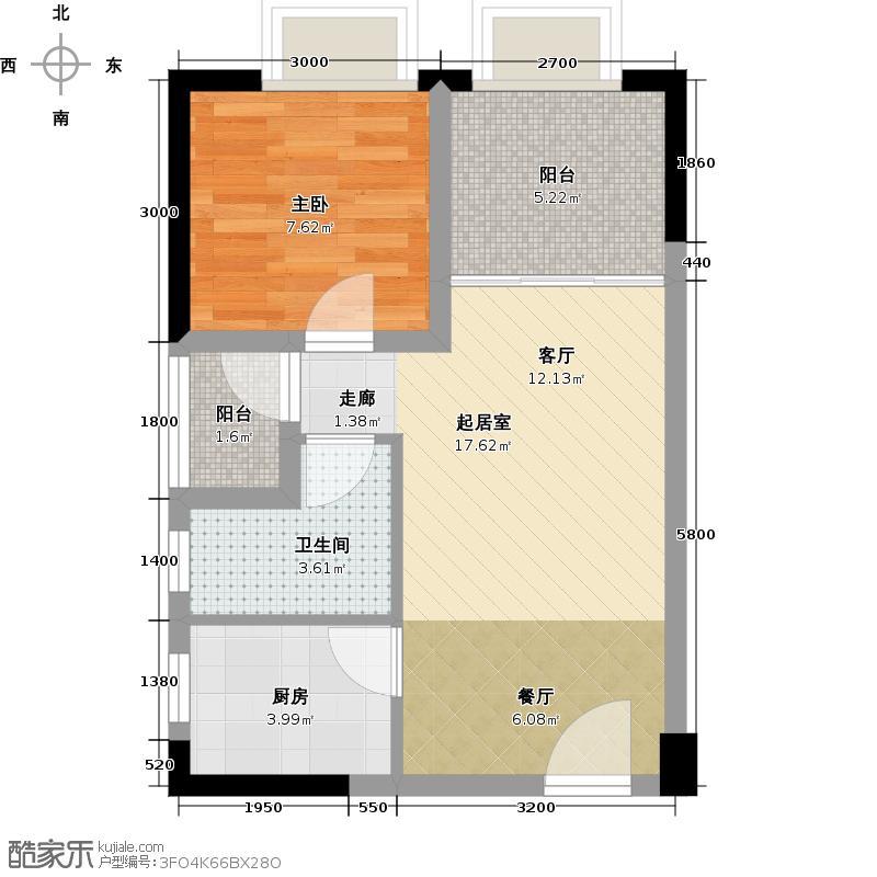 恒禾皇冠国际社区56.00㎡K1户型1室1卫1厨
