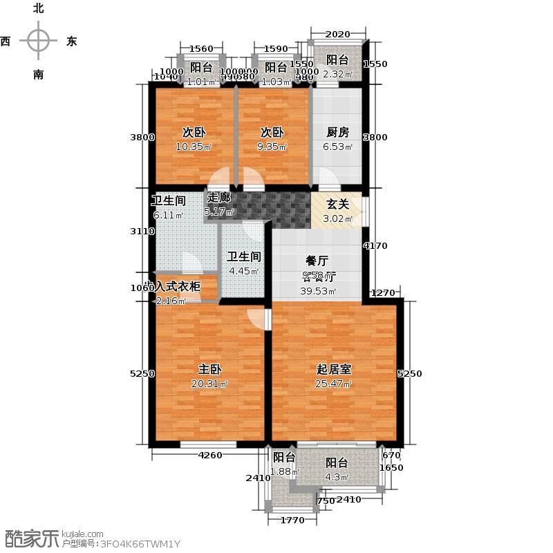 北京华侨城138.00㎡A1-4轩朗墅居B户型3室1厅2卫1厨