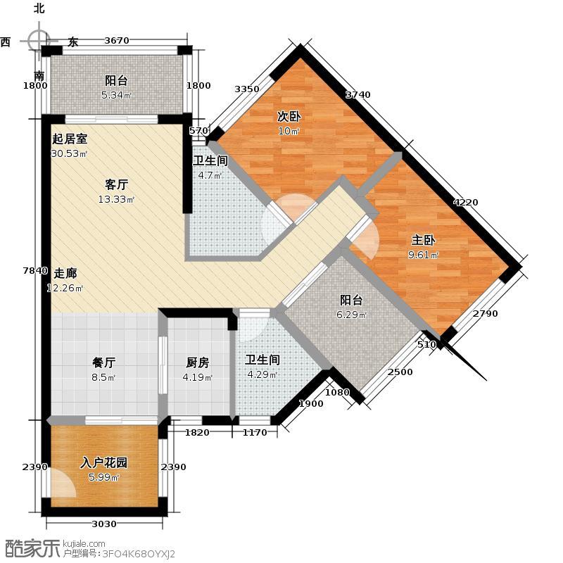 豪利花园96.37㎡三期豪景阁E栋2-13层北向户型2室2卫1厨