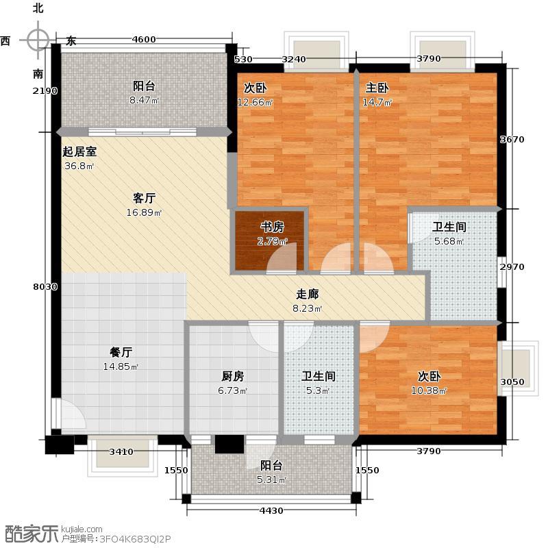 穗和城121.83㎡C栋08单元户型4室2卫1厨