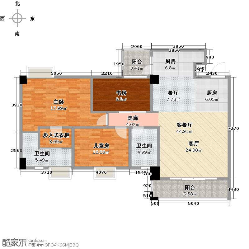 南沙玫瑰花园122.00㎡04单位户型3室1厅2卫
