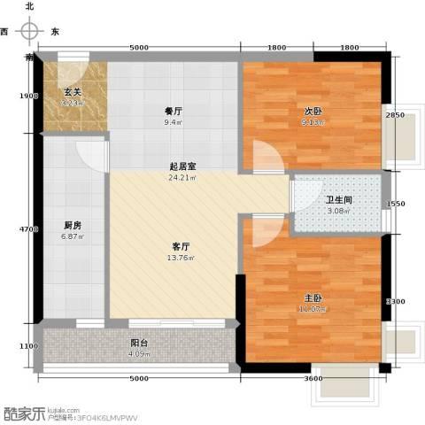 珠光高派国际公寓2室0厅1卫1厨84.00㎡户型图