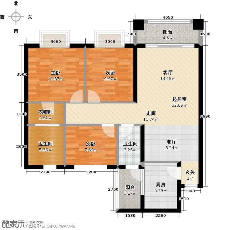丰泰城市公馆113.00㎡2/3栋标准层B01户型3室2卫1厨