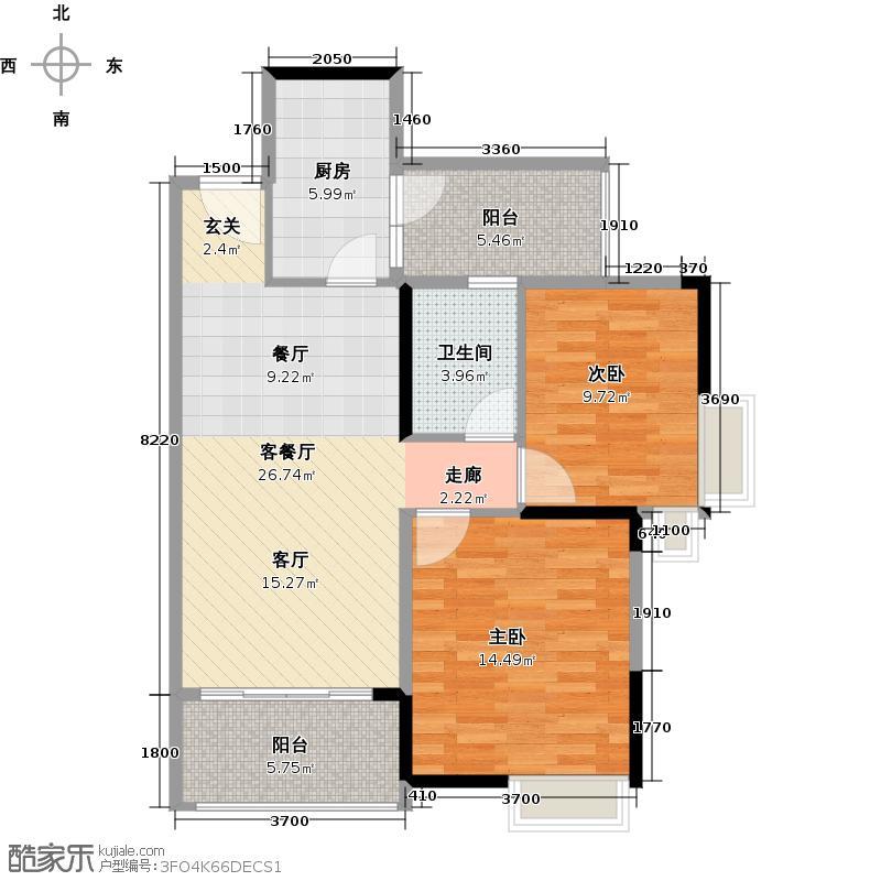 翡翠绿洲97.00㎡T型1-5、14-17、22-27栋标准层01单位户型2室1厅1卫1厨