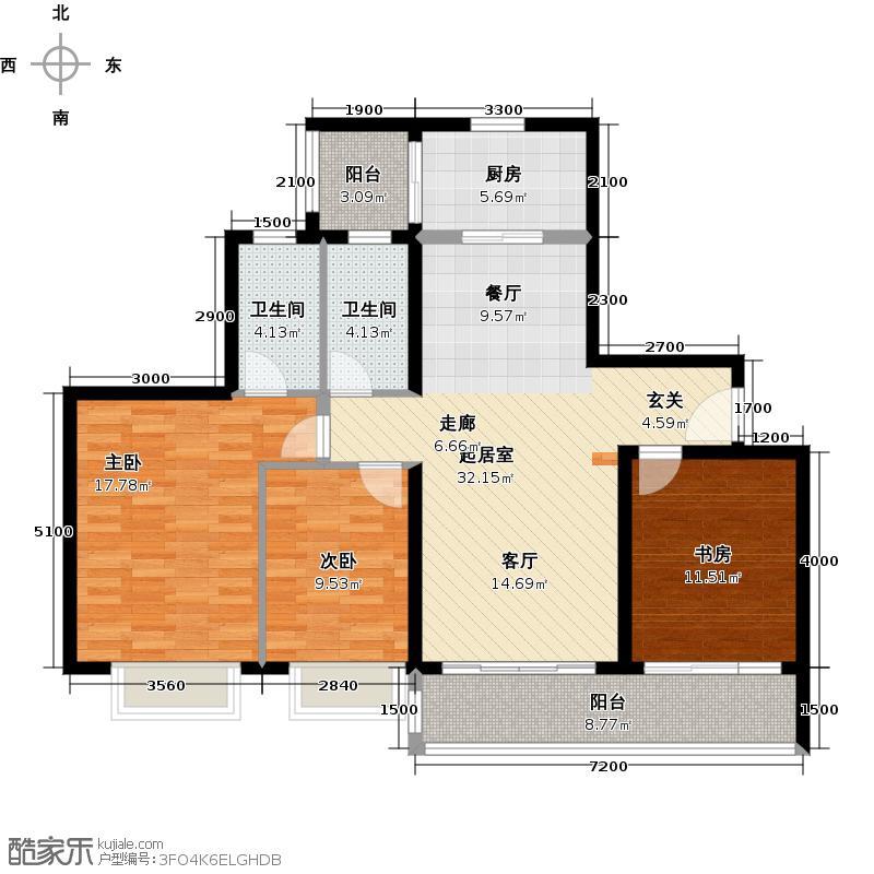 丰泰城市公馆123.00㎡2/3栋标准层B02户型3室2卫1厨