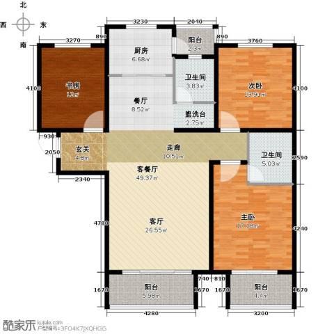 玫瑰湾3室1厅2卫1厨134.00㎡户型图