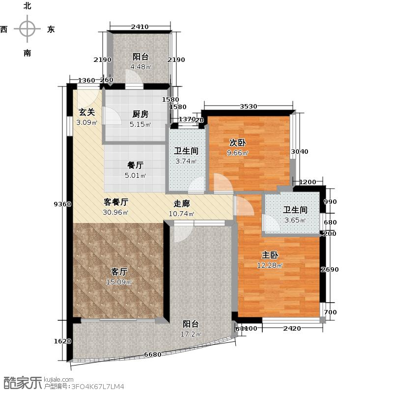 庄士映蝶蓝湾98.00㎡二期12座01单位户型2室1厅2卫1厨