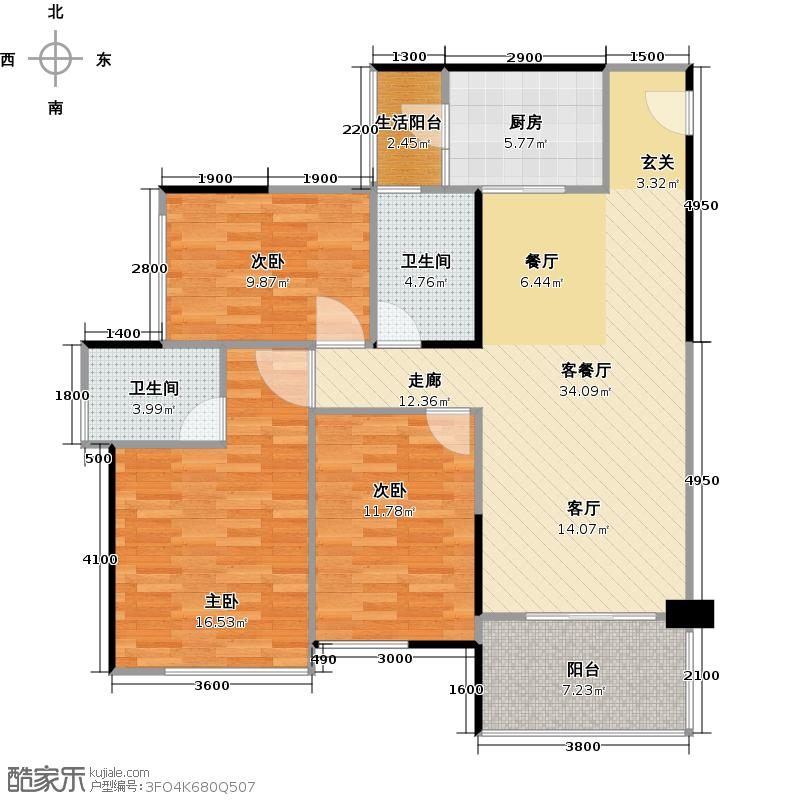 汇东国际花园110.15㎡C3栋02户型3室1厅2卫1厨
