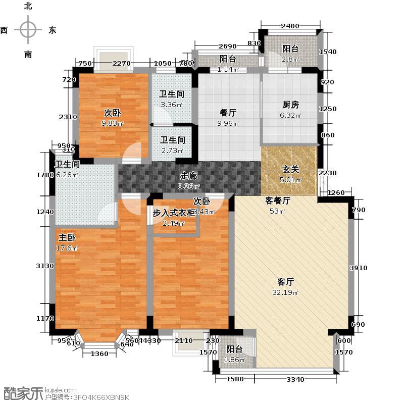 北京奥林匹克花园133.95㎡D户型3室1厅2卫1厨