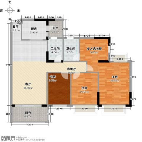 锦绣御景国际3室1厅2卫1厨120.00㎡户型图