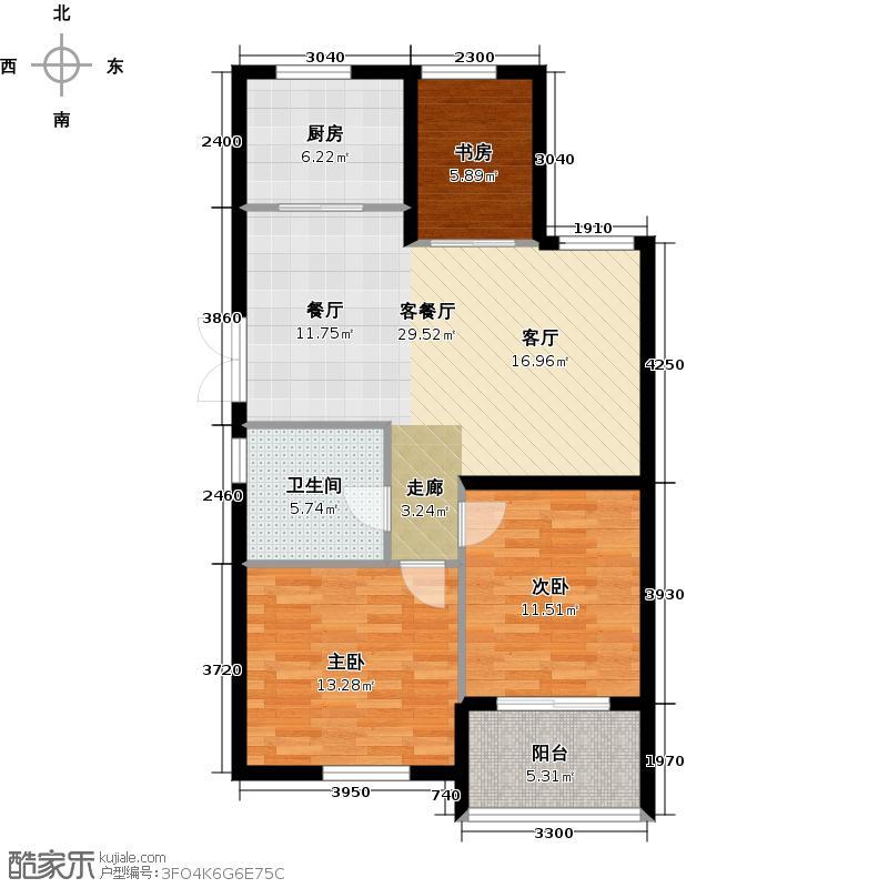 郡原相江公寓87.70㎡C2户型3室2厅1卫