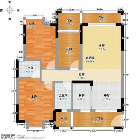 龙湾新城2室0厅2卫1厨98.00㎡户型图