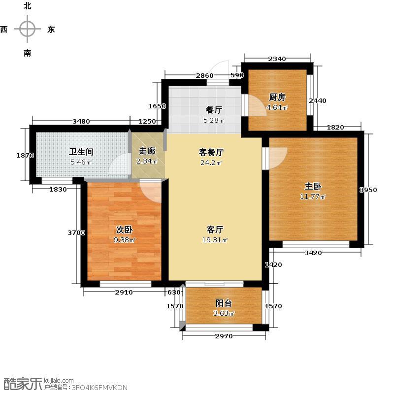 江南铭庭89.00㎡2#楼奇数层平面F\\\\\\\'户型2室1厅1卫1厨