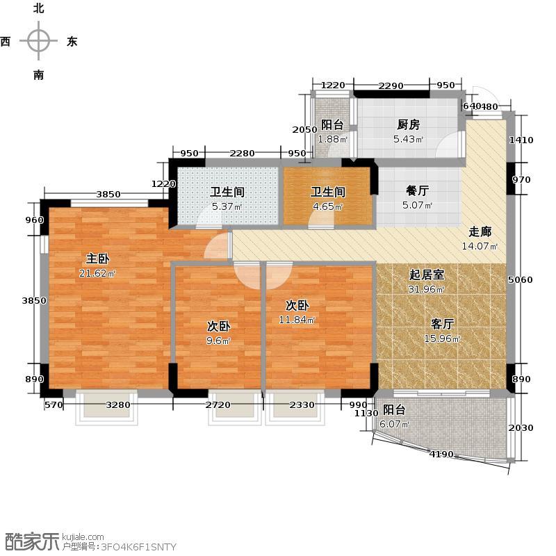 三正世纪豪庭110.37㎡户型3室2卫1厨