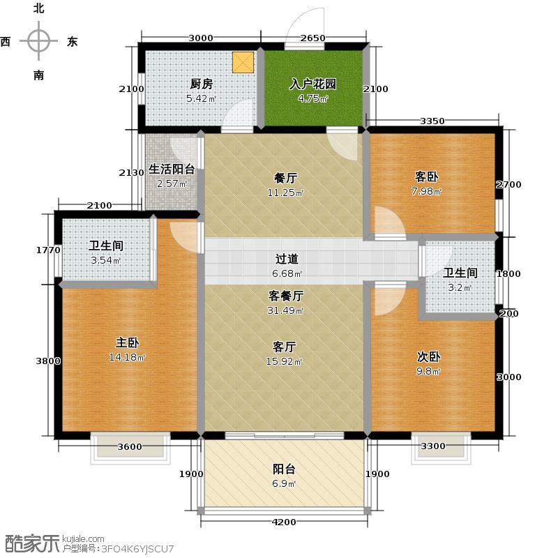 花香十二院112.00㎡芙蓉院/牡丹院02户型3室1厅2卫1厨