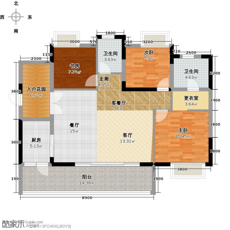 仙桃福星城114.30㎡未命名户型3室1厅2卫1厨