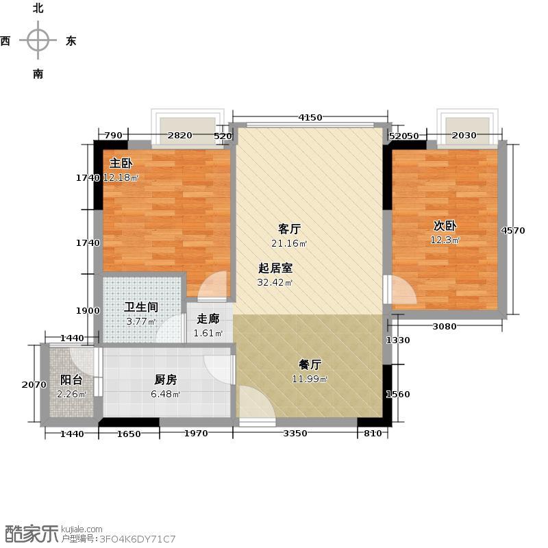 优山美墅80.54㎡E4幢2-17层02户型2室1卫1厨