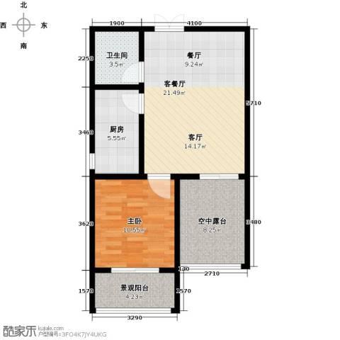 玫瑰湾1室1厅1卫1厨60.00㎡户型图