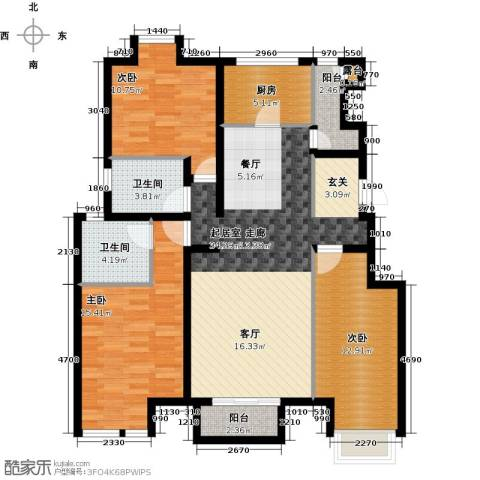 万科幸福汇3室0厅2卫1厨132.00㎡户型图
