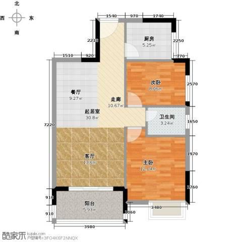 金桂华府2室0厅1卫1厨91.00㎡户型图