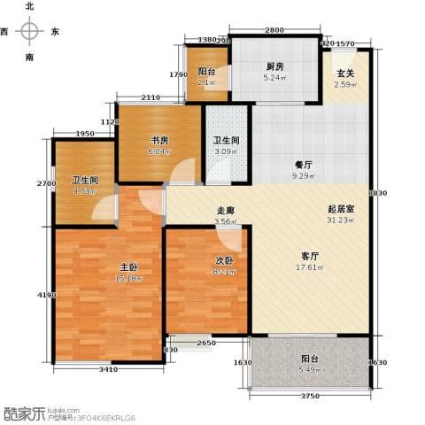 居益凯景中央3室0厅2卫1厨94.00㎡户型图