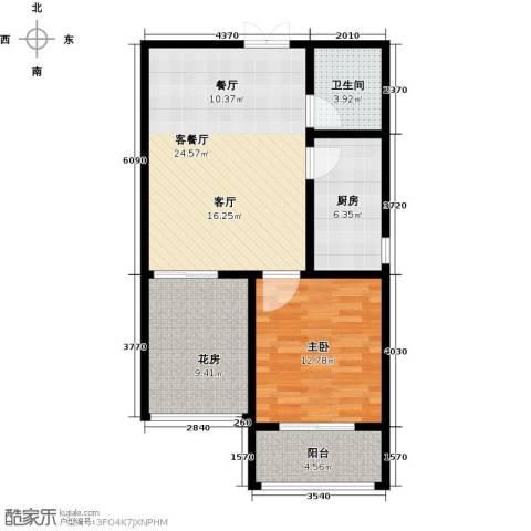 玫瑰湾1室1厅1卫1厨69.00㎡户型图