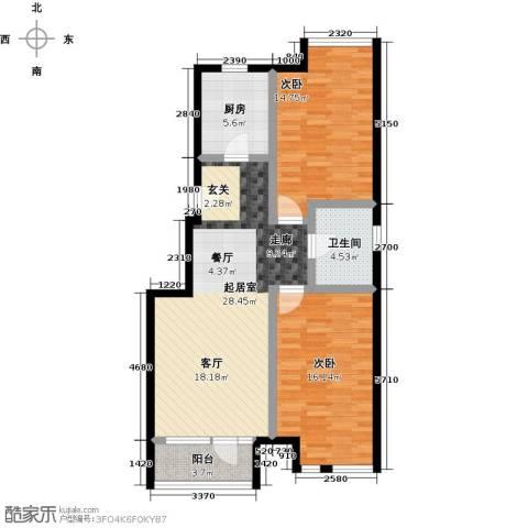 万科幸福汇2室0厅1卫1厨80.00㎡户型图