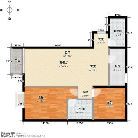 优品国际公寓2室1厅2卫1厨107.00㎡户型图