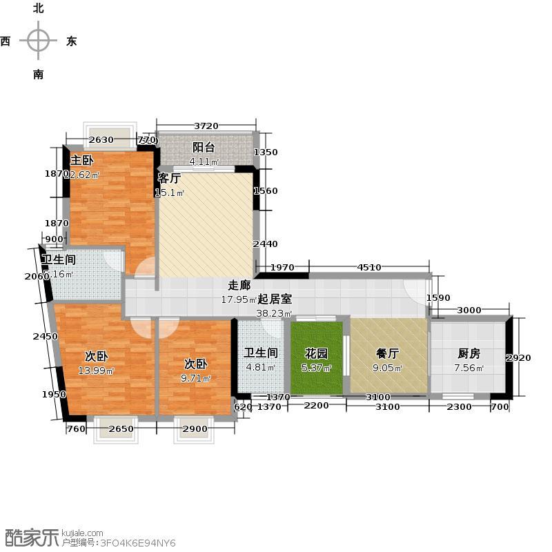 优山美墅129.32㎡E3幢2-18层04户型3室2卫1厨