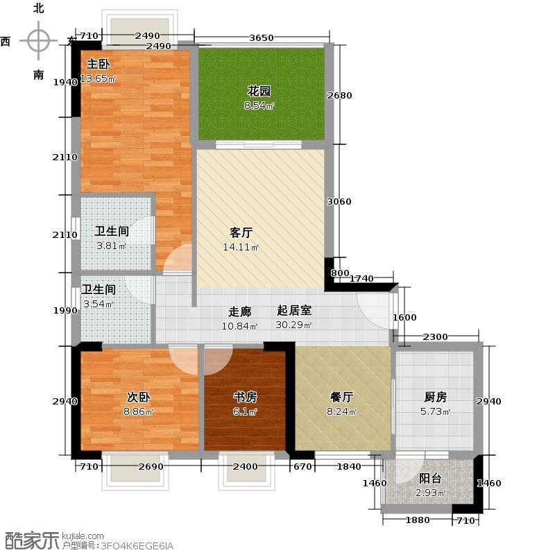 优山美墅104.64㎡E2幢2-18层01户型3室2卫1厨