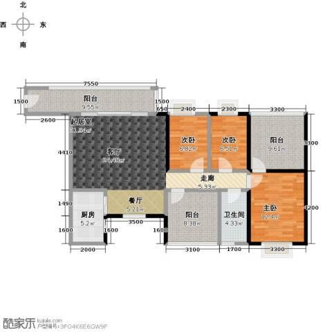 天马河公馆3室0厅1卫1厨110.00㎡户型图