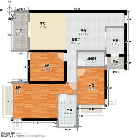 雅居乐御宾府3室1厅2卫1厨113.00㎡户型图