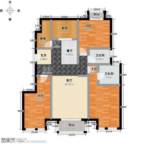 万科幸福汇3室0厅2卫1厨120.00㎡户型图