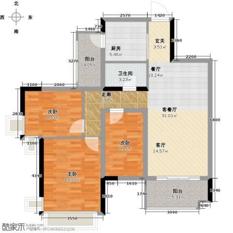雅居乐御宾府3室1厅1卫1厨99.00㎡户型图