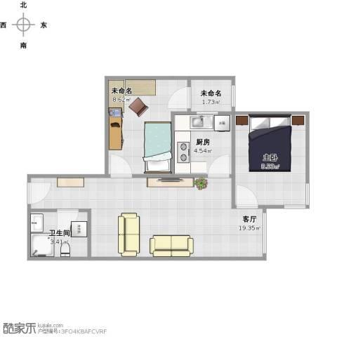 宋家庄家园1室1厅1卫1厨63.00㎡户型图