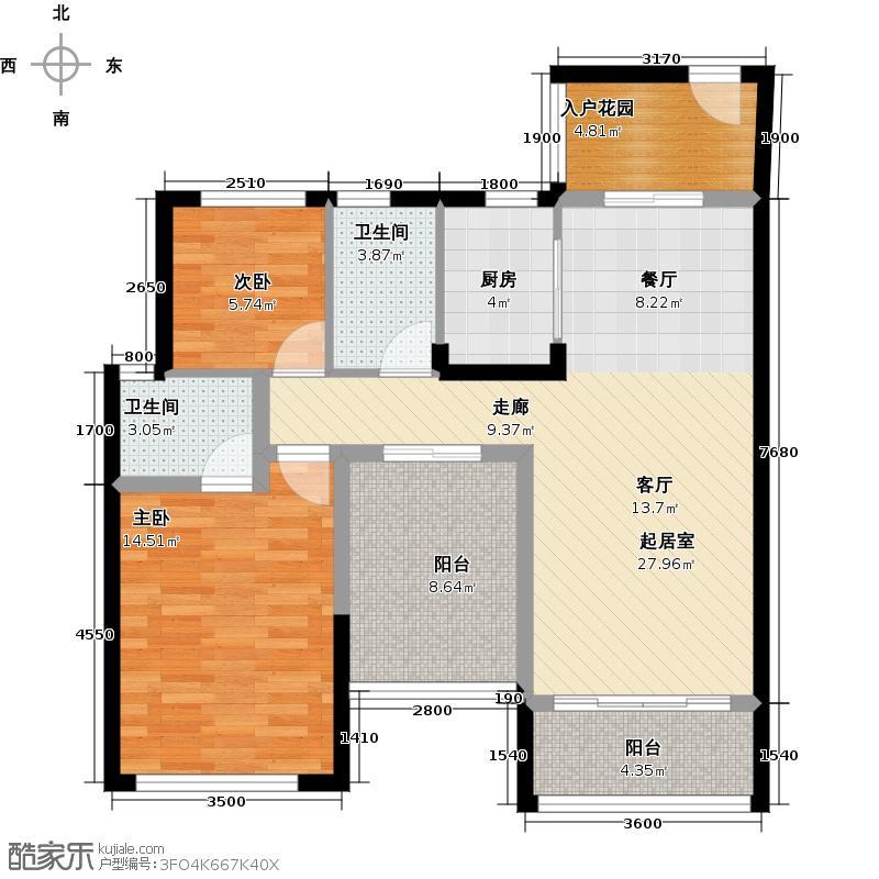 豪利花园93.69㎡豪景阁B栋2-13层03单位南向户型2室2卫1厨