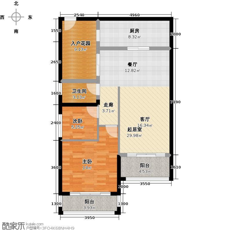 豪利花园98.58㎡豪景阁A栋2-13层02单位南向户型2室1卫1厨